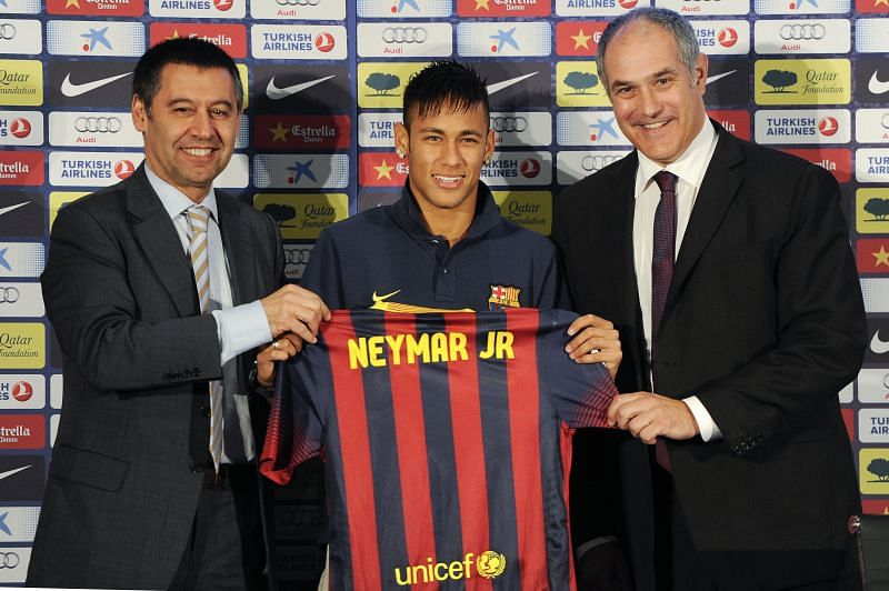 Bartomeu (left) must consider carefully if he has the financial means to bring Neymar back at Camp Nou.
