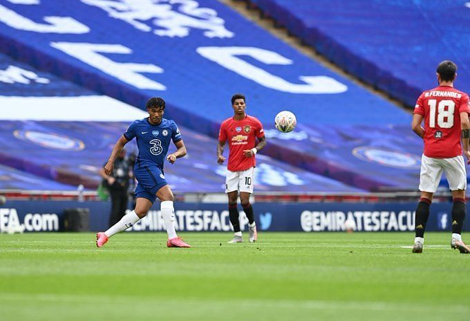 Reece James in action against Manchester United
