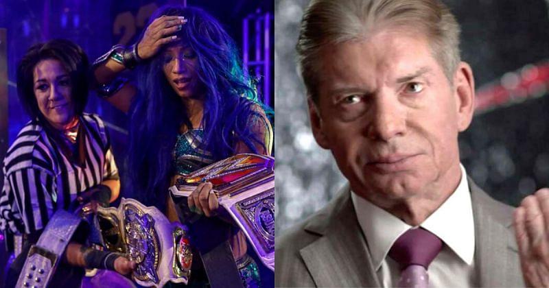Bayley, Sasha Banks, and Vince McMahon.