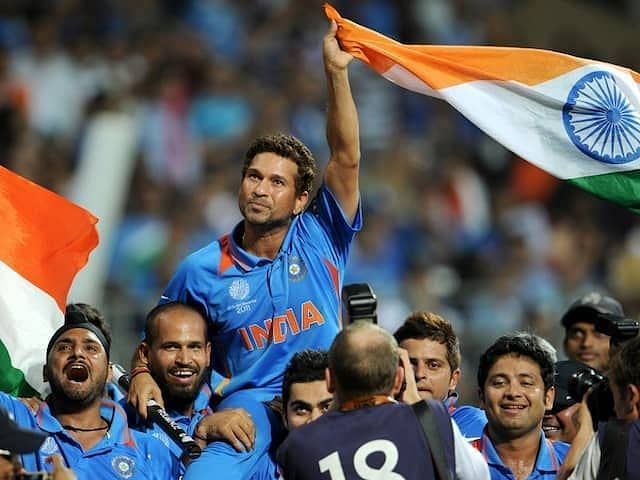 Sachin Tendulkar pictured in a lap of honour after winning the 2011 World Cup at home