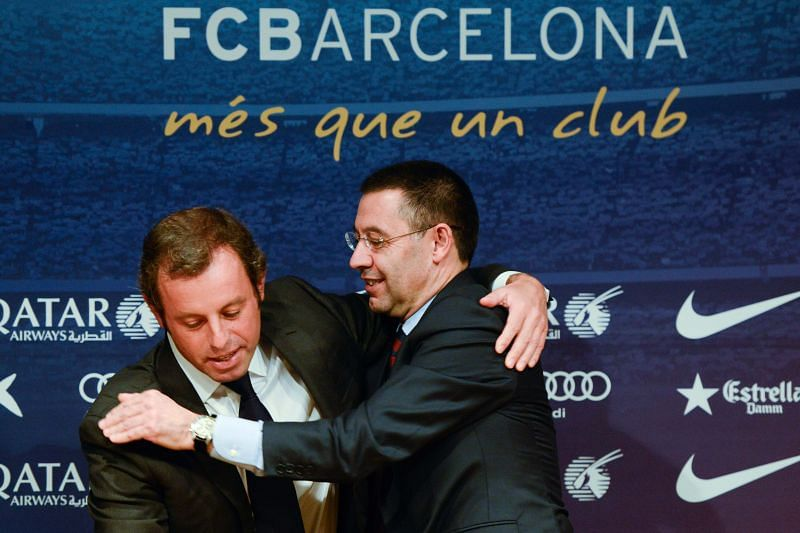 Josep Maria Bartomeu (right) took the reins from Sandro Rosell at FC Barcelona on 23rd January, 2014.