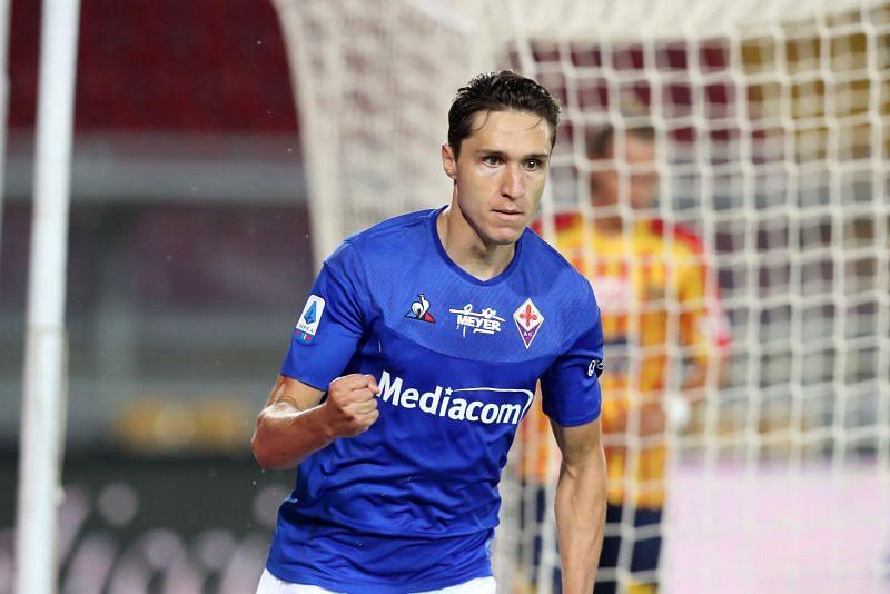 Federico Chiesa celebrates a Fiorentina goal