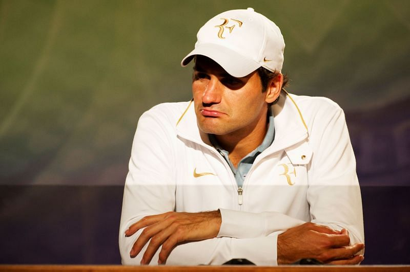 Roger Federer during a press conference at Wimbledon 2010
