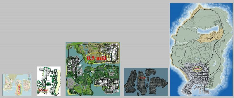 Size of the maps on the basis of Land Area (Image Courtesy: GTAForums)