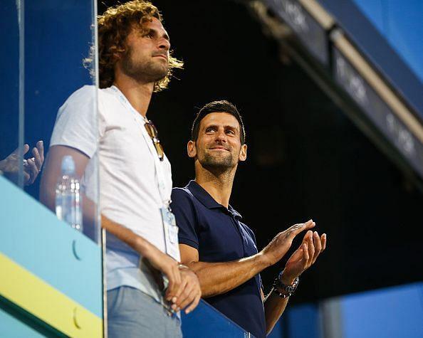 Novak Djokovic looks on at Adria Tour