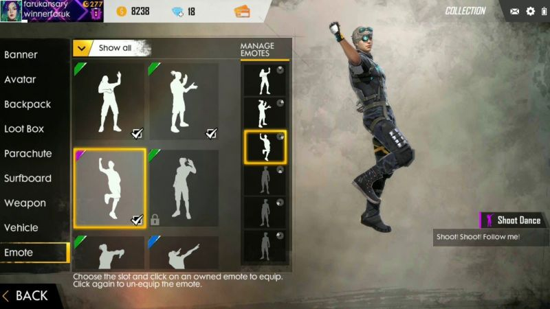 How To Equip Emotes In Free Fire