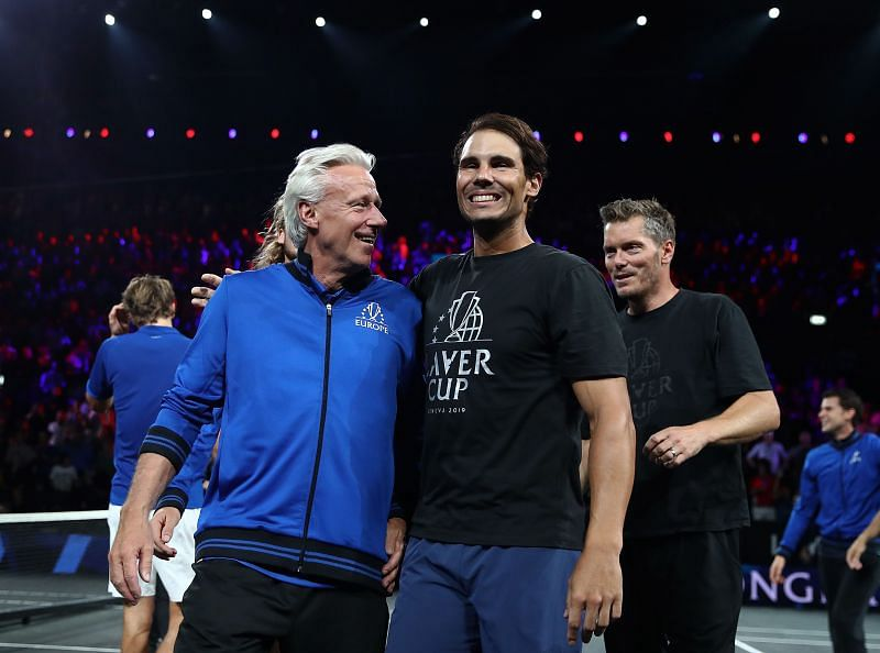 Bjorn Borg (L) and Rafael Nadal at Laver Cup 2019