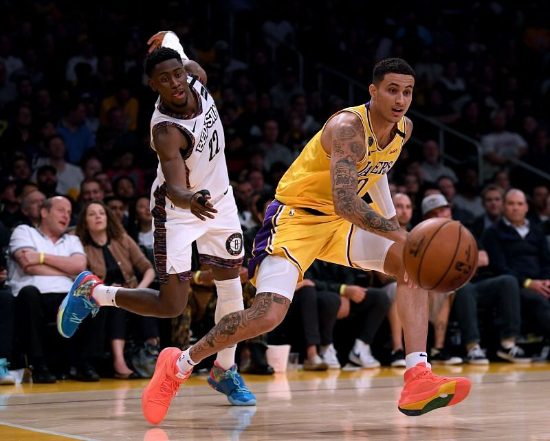 Kyle Kuzma in action against the Nets