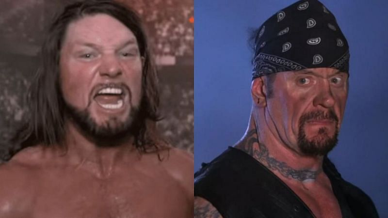 AJ Styles (left); The Undertaker (right)