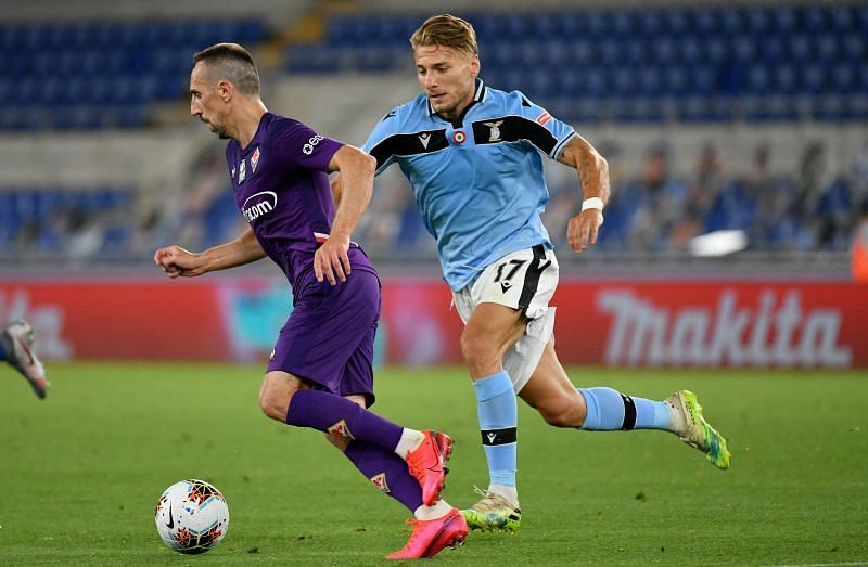 Franck Ribery in action for Fiorentina in the Serie A