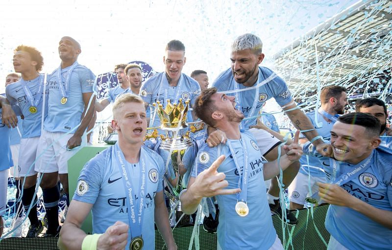 Manchester City celebrating their 2018/19 title win