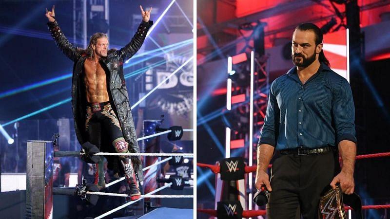 Edge (left); Drew McIntyre (right)