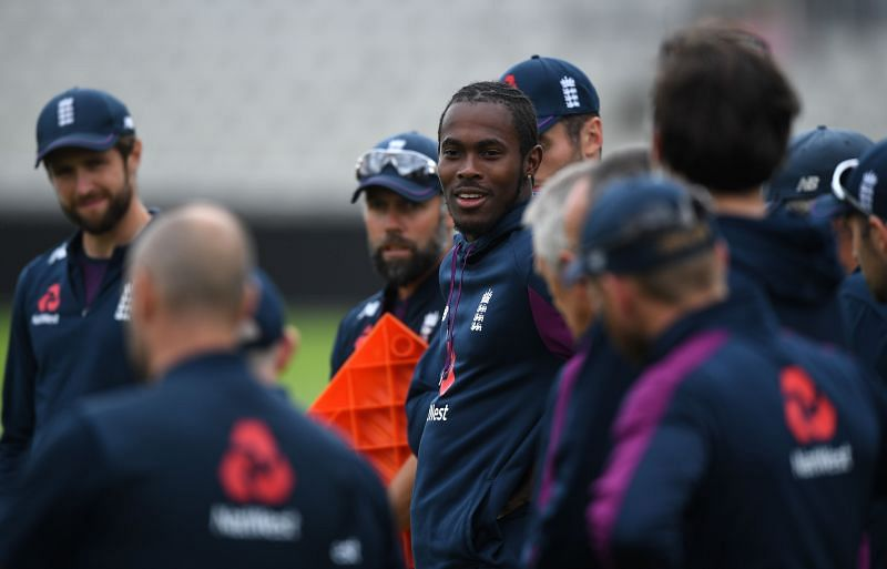 Jofra Archer with his England teammates during a practice session