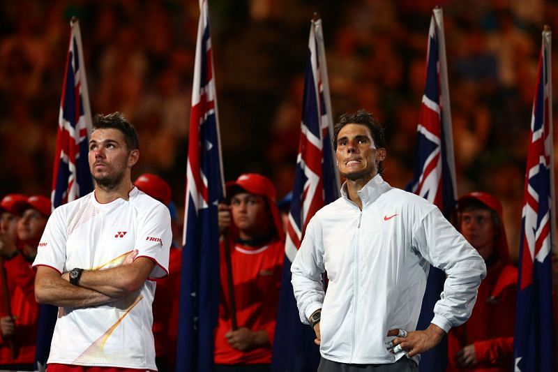 Stan Wawrinka (L) and Rafael Nadal at the Australian Open 2014 Trophy Ceremony