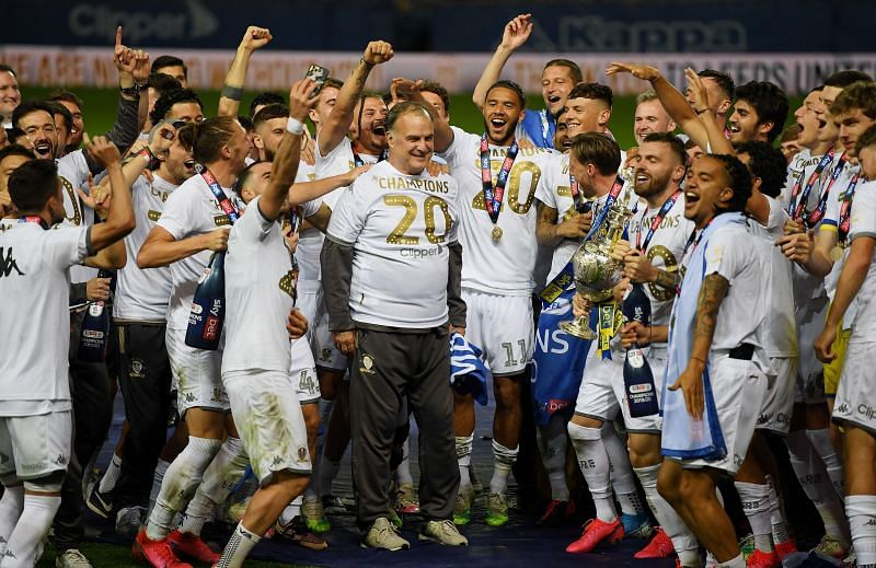 Leeds United celebrate their Championship triumph
