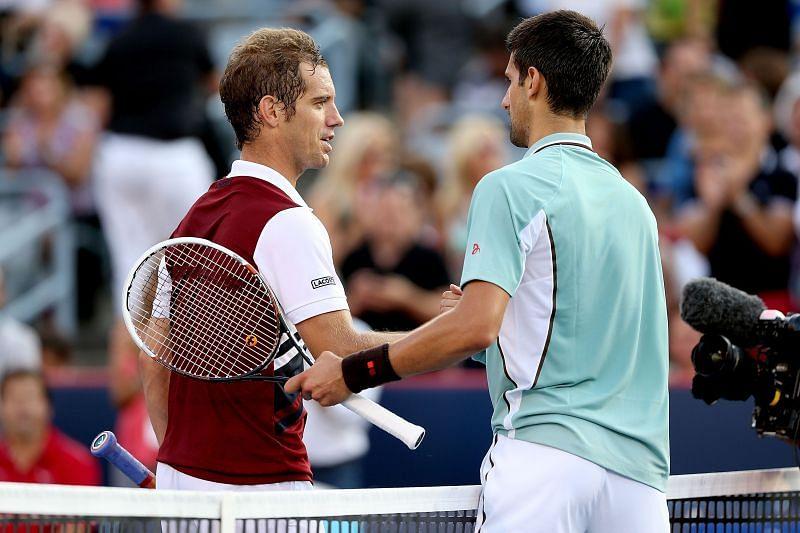 Richard Gasquet (L) and Novak Djokovic