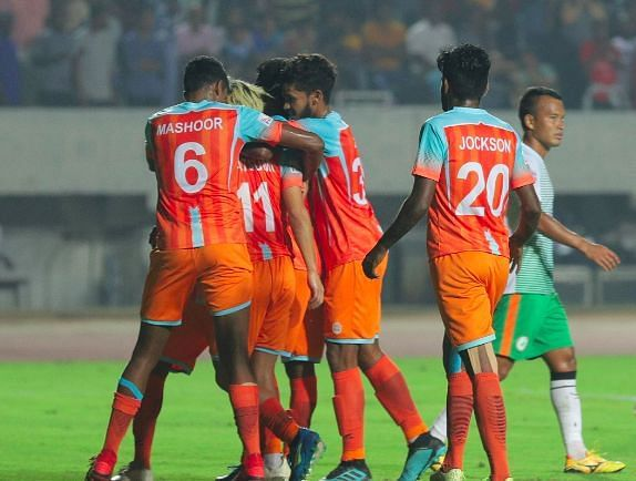 Chennai City FC in the AFC Champions League Round 1 Qualifier against Al-Riffa in Ahmedabad.