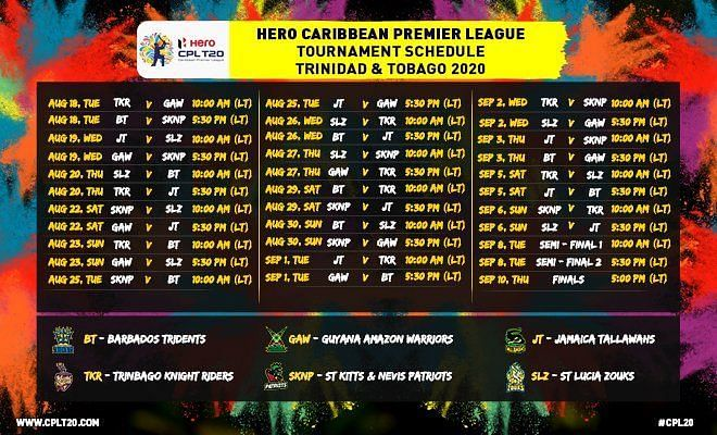 CPL 2020 Schedule (All times in LT)