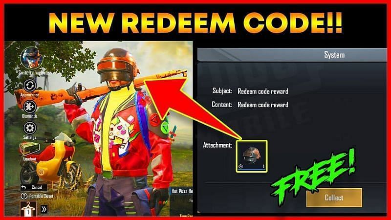 Hot Pizza helmet skin redeem code in PUBG Mobile (Picture Courtesy: Spark Subh / YouTube)