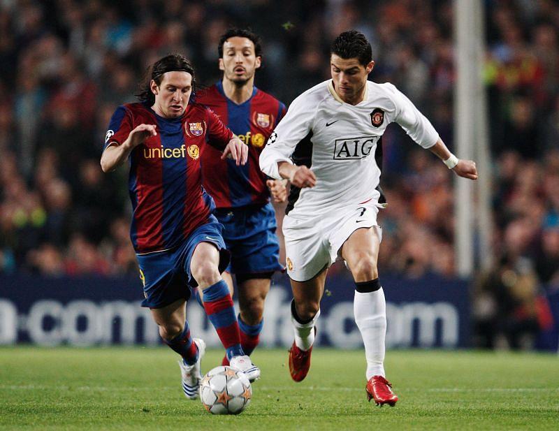 Lionel Messi duelling with Cristiano Ronaldo in the UEFA Champions League Semi-Final