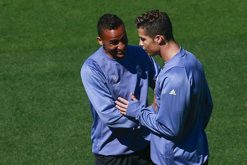 Danilo and Ronaldo in training at Real Madrid