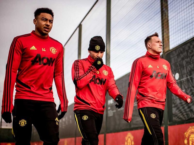 Jesse Lingard (L) and Phil Jones (R) have been pushed down the pecking order at Manchester United