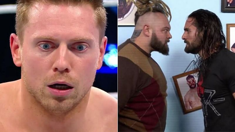 The Miz (left); Bray Wyatt and Seth Rollins (right)