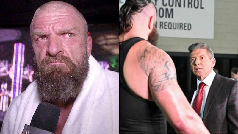 Triple H (left); Braun Strowman and Vince McMahon (right)