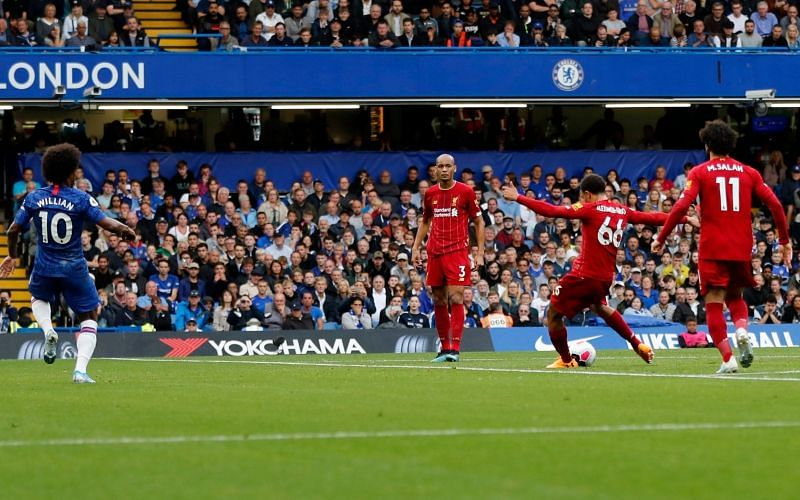Alexander-Arnold(No.66) scored against Chelsea in the reverse fixture.