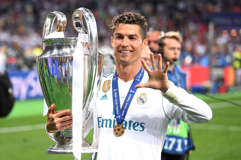 Cristiano Ronaldo poses after winning his fifth Champions League title in 2018.