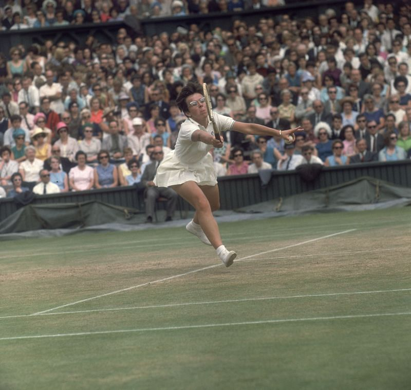 Billie Jean King in action