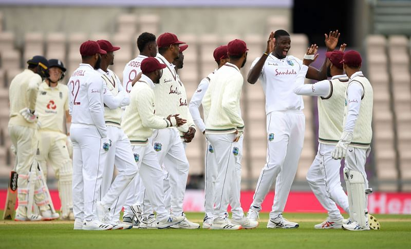 Teammates congratulate Jason Holder for another fruitful review.