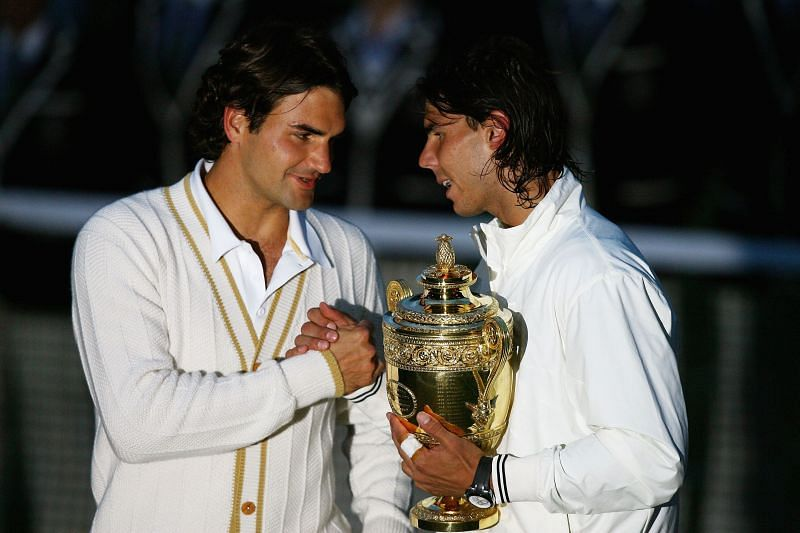 Roger Federer congratulates Rafael Nadal after their epic at Wimbledon 2008