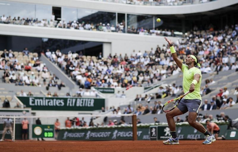 The wide serve followed by the big forehand is Rafael Nadal