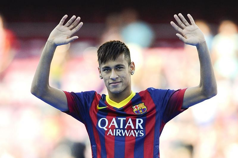 Neymar was unveiled at the Nou Camp. He wore a Qatar Airways-sponsored jersey.