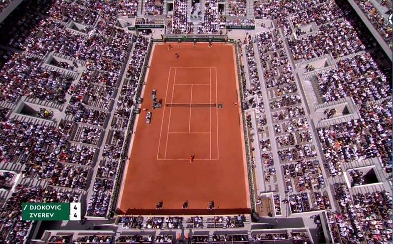 A sky level of Court Philippe-Chatrier and the huge space behind the baseline it offers to a player like Rafael Nadal