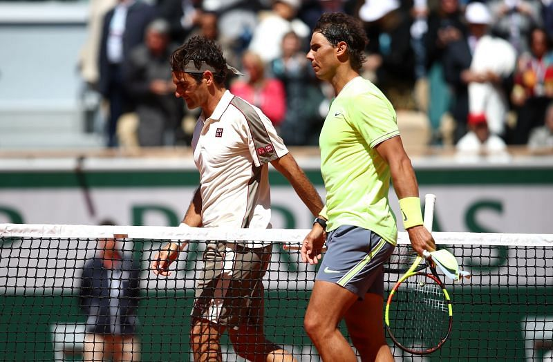 Roger Federer and Rafael Nadal at the 2019 French Open