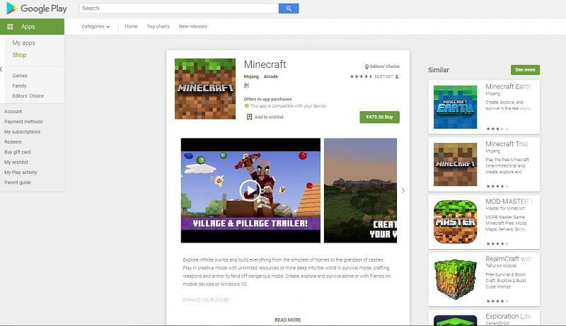 Minecraft on Google Play Store