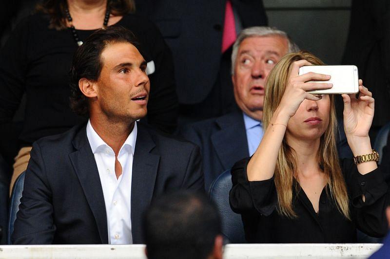 Rafael Nadal watching Real Madrid play at the Santiago Bernabeu