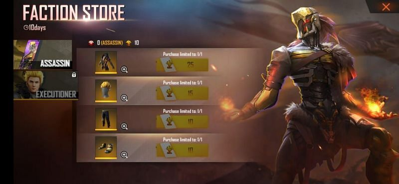 Faction Store (Picture Source: Garena Free Fire)