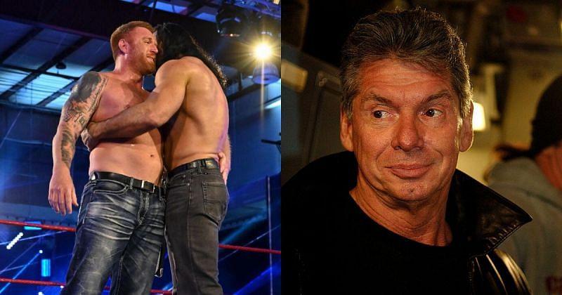 Heath Slater, Drew McIntyre and Vince McMahon.