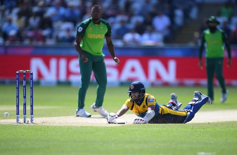 Kusal Mendis in action against South Africa during the ICC Cricket World Cup 2019
