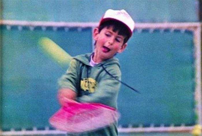 Novak Djokovic playing tennis in his childhood
