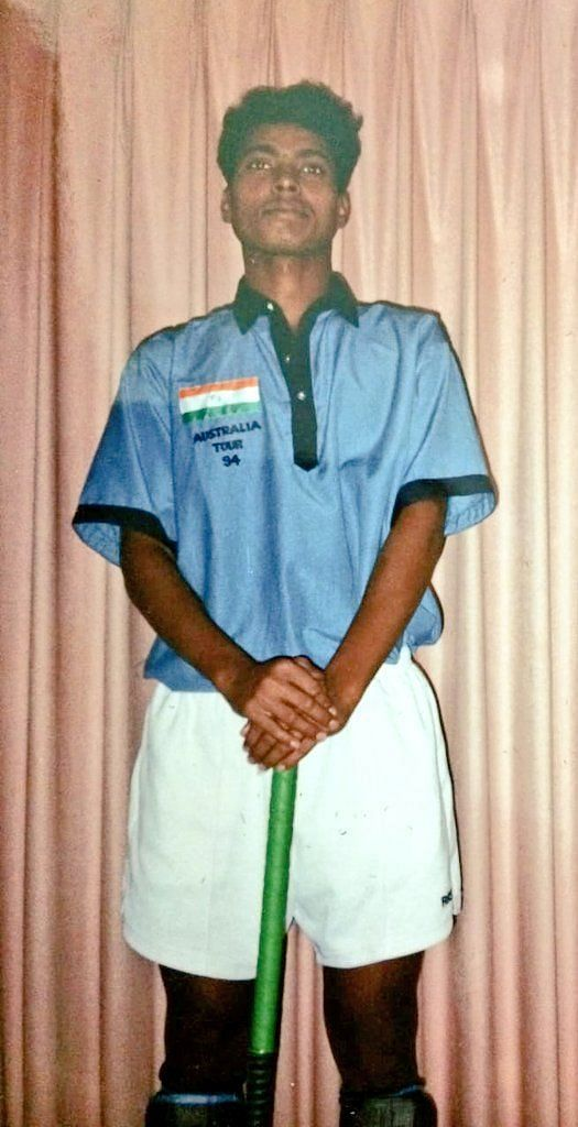 Dilip Tirkey in the Junior India Team jersey. (Photo - Twitter/Dilip Tirkey)