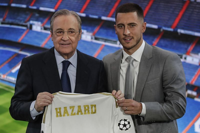 Real Madrid president poses with new signing Eden Hazard prior to the start of the season