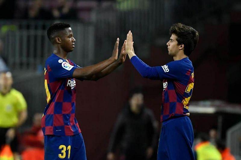 Ansu Fati (left) and Riqui Puig have shone for Barcelona this season.