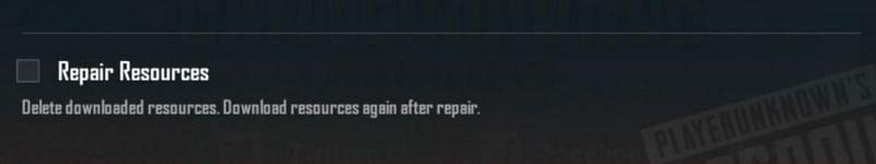 Repair resources option.