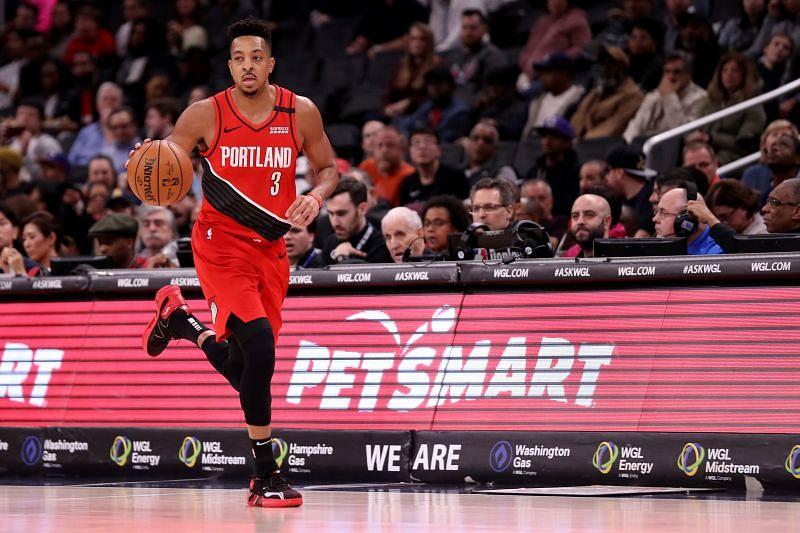 CJ McCollum playing for the Portland Trail Blazers v Washington Wizards