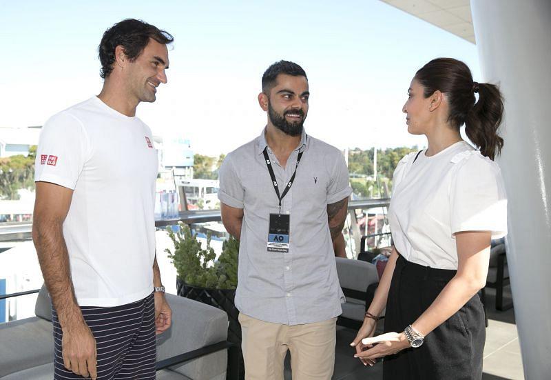 (From L to R) Roger Federer, Virat Kohli and Anushka Sharma