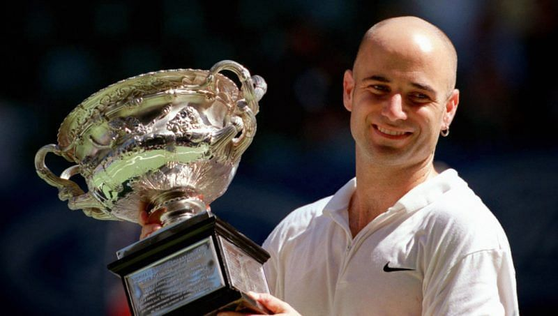 Andre Agassi celebrates his fourth Australian Open title in 2003.